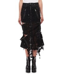 Sacai Zip Side Floral Lace Midi Skirt Black