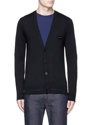 Givenchy Logo Leather Patch Fine Gauge Wool Cardigan Black
