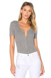 Atm Anthony Thomas Melillo V Neck Henley Bodysuit Grey