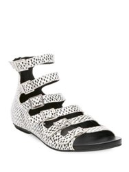 Design Lab Lord And Taylor Dot Print Leather Sandals Black