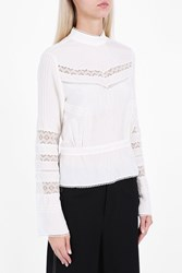 Derek Lam High Neck Lace Blouse White