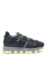 Lanvin Lightening Panelled Leather Trainers Blue