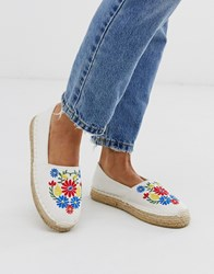 South Beach Embroidered Espadrille In White