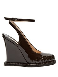 Bottega Veneta Intrecciato Patent Leather Wedge Pumps Dark Brown