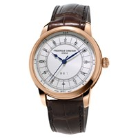 Frederique Constant Fc 724Cc4h4 Men's Manufacture Zodiac Rose Gold Plated Alligator Leather Strap Watch Brown White