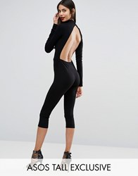 Asos Tall Cropped Jumpsuit With Cut Out Back Black