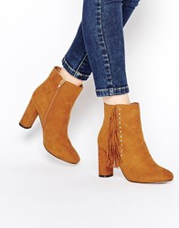 Truffle Collection Alice Tassel Heeled Ankle Boots Tan