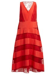 Valentino Panelled Lace V Neck Dress Red