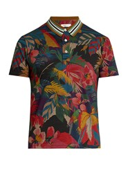 Valentino Tropical Print Cotton Polo Shirt Multi