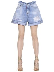 Dsquared Kawaii Washed And Destroyed Denim Shorts