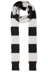 Red Valentino Striped Intarsia Mohair Blend Scarf Ivory