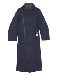 Y 3 Contrast Striped Wool Blend Coat