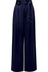 Tory Burch Belted Satin Wide Leg Pants Navy