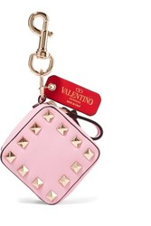 Valentino Garavani The Rockstud Textured Leather Bag Charm Baby Pink
