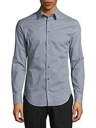 Giorgio Armani Gingham Check Cotton Button Down Shirt Frost Blue