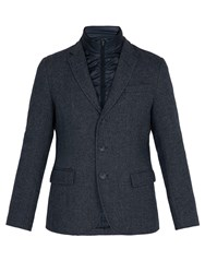 Herno Frosted Wool Blend Jacket With Quilted Insert Navy