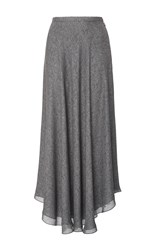 Sally Lapointe Printed Double Georgette Shirred Skirt Light Grey