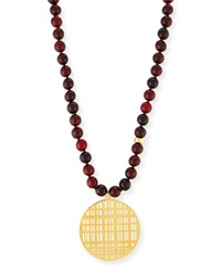 Red Horn Bead Necklace With Pendant 34' Nest Jewelry