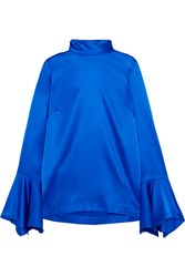 Paper London Rufus Fluted Stretch Silk Satin Top Bright Blue
