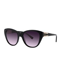 Nina Ricci Rounded Acetate Sunglasses Black