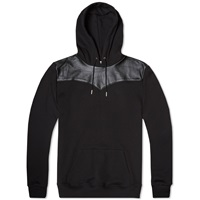 Saint Laurent Leather Panel Hoody Black