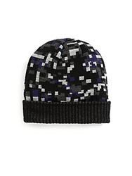 Saks Fifth Avenue Geometric Print Hat Blue
