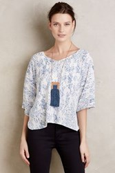 Anthropologie Lovelia Blouse Blue Motif