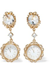 Dolce And Gabbana Gold Tone Crystal Clip Earrings
