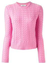 Valentino Cable Knit Sweater Pink And Purple