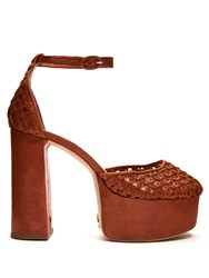 Brother Vellies Oracle Woven Leather Platform Pumps Dark Tan