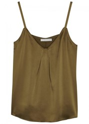 Vince Olive Silk Top Green