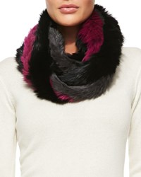 Jocelyn Rabbit Fur Infinity Scarf Gray Pink