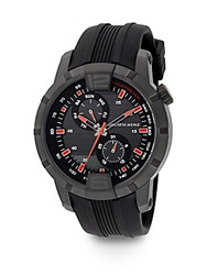 Saks Fifth Avenue Blackened Stainless Steel And Rubber Multi Function Watch