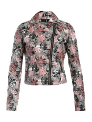 Izabel London Rose Print Biker Jacket Pink