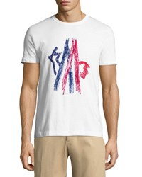 Moncler Embroidered Mountain Logo Crewneck T Shirt White Red Blue