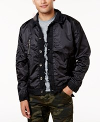 American Stitch Men's Frayed Denim Trim Jacket Black