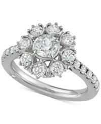 Marchesa Diamond Floral Engagement Ring 1 5 8 Ct. T.W. In 18K White Gold Created For Macy's