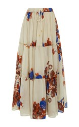 Yvonne S Floral Drawstring Maxi Skirt