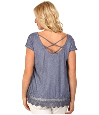 Dkny Plus Size Criss Cross Back Lace Trim Top Mood Indigo Women's Blouse Navy