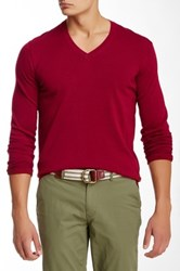 Ben Sherman Knit Elbow V Neck Pullover Red
