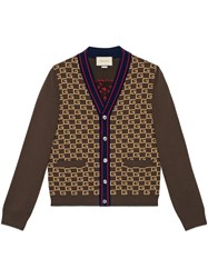 Gucci Square G Cardigan With Tiger Brown