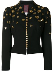 John Galliano Vintage Button Embellishments Cropped Jacket Black