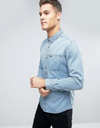 Esprit Denim Shirt In Slim Fit With Chest Pocket Mid Blue