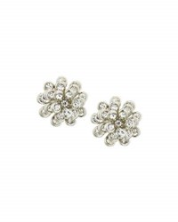 Berry Jewelry Floral Crystal Stud Earrings Silver