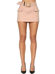 Balmain Belted Wool Grain De Poudre Mini Skirt Nude