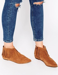 Warehouse Fringe Point Suede Ankle Boots Tan