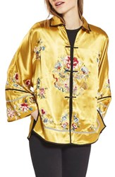 Topshop Women's Embroidered Satin Kimono Jacket Yellow Multi