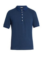 Massimo Alba Tennis Stretch Cotton Pique Polo Shirt Navy