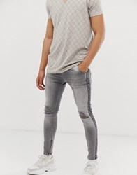 Sik Silk Siksilk Super Skinny Jeans With Monogram Side Logo Grey