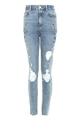 Topshop Petite Embroidered Straight Leg Jeans Mid Stone